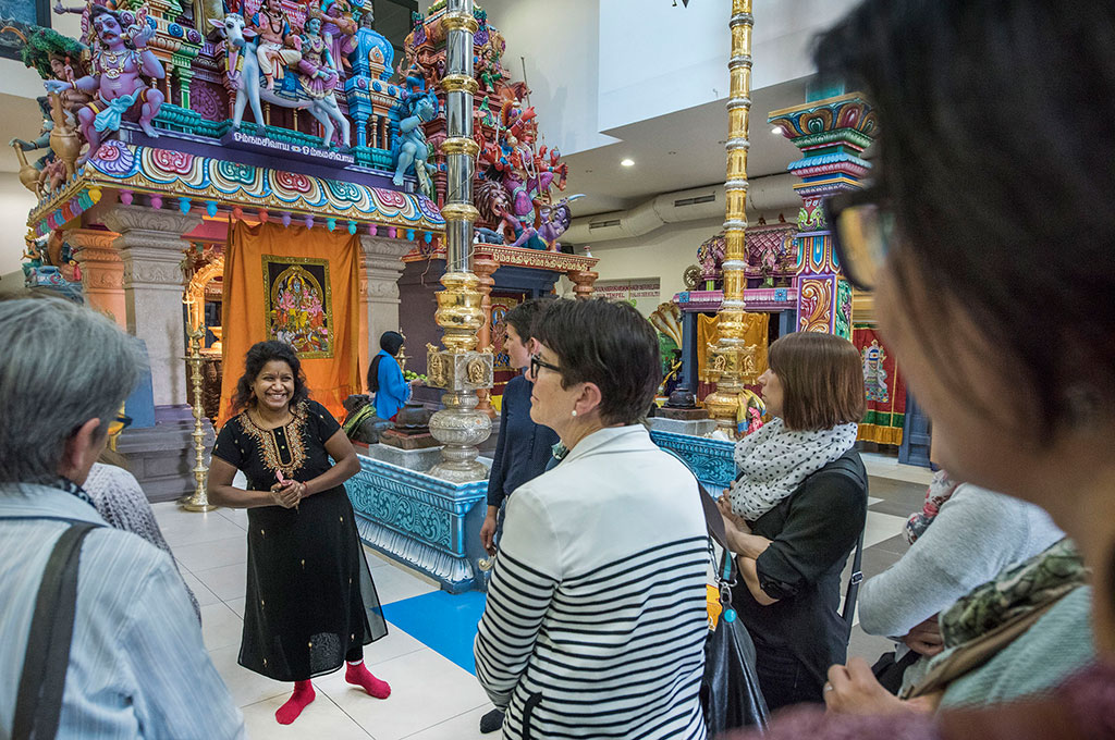 Women visiting a Tamil temple in Switzerland.